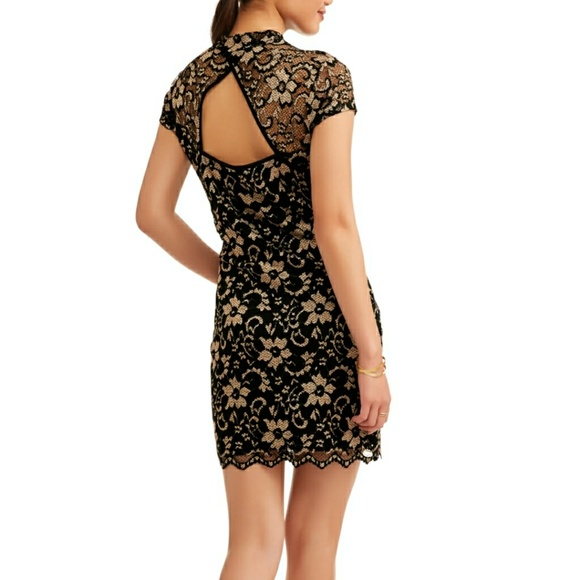 690a5a047cbf48 No Boundaries Dresses | Cap Sleeve Mock Neck Lace Dress W Cut Out ...